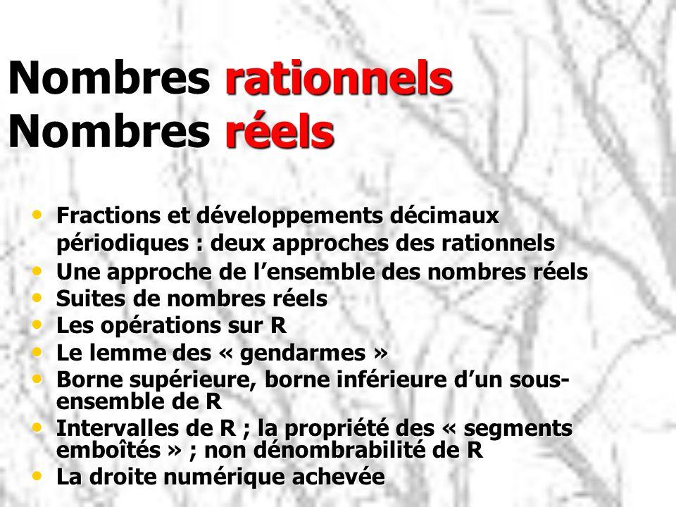 Nombres rationnels Nombres réels Fractions et développements décimaux périodiques : deux approches des rationnels Fractions et développements décimaux