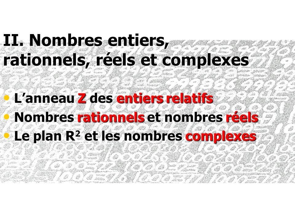II. Nombres entiers, rationnels, réels et complexes Lanneau Z des entiers relatifs Lanneau Z des entiers relatifs Nombres rationnels et nombres réels