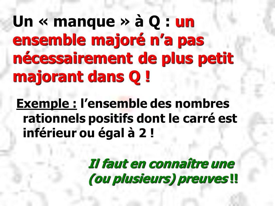 Un « manque » à Q : un ensemble majoré na pas nécessairement de plus petit majorant dans Q ! Exemple : lensemble des nombres rationnels positifs dont