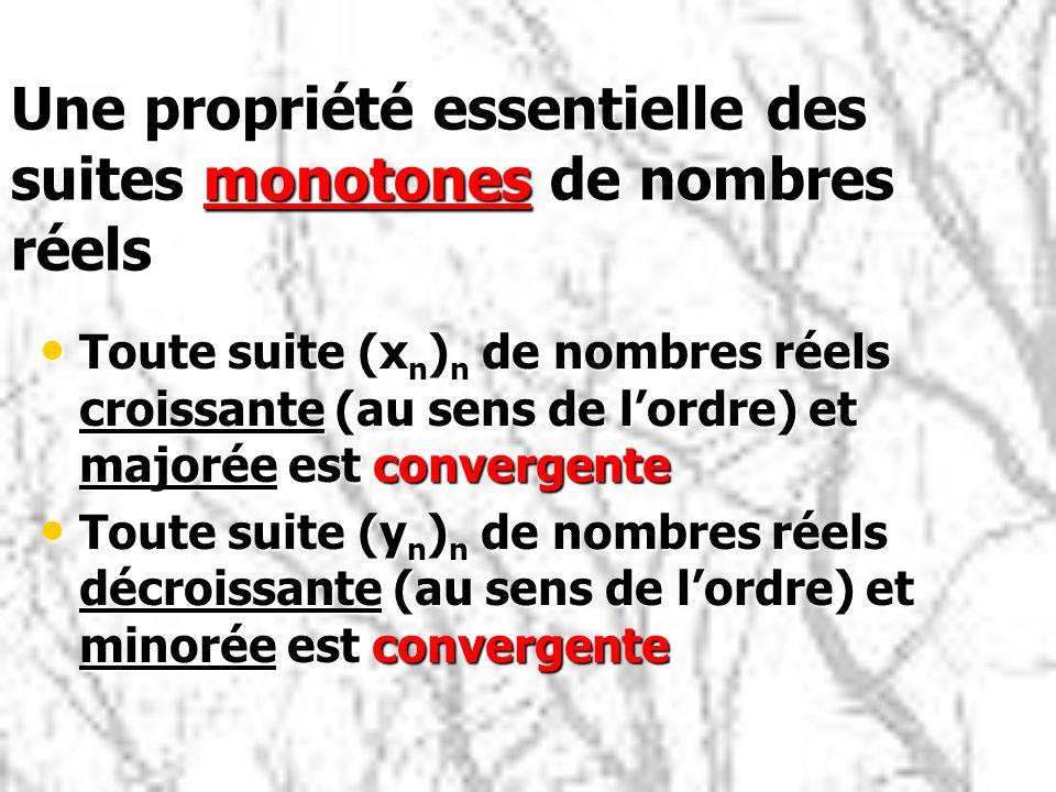 Une propriété essentielle des suites monotones de nombres réels Toute suite (x n ) n de nombres réels croissante (au sens de lordre) et majorée est co