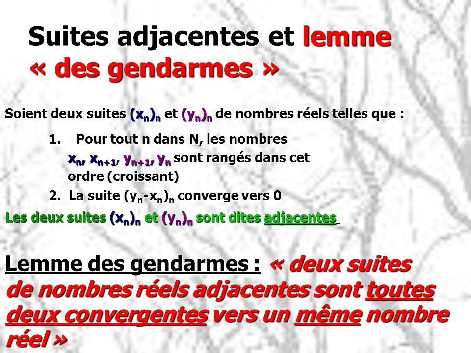 Suites adjacentes et lemme « des gendarmes » 1.Pour tout n dans N, les nombres x n, x n+1, y n+1, y n sont rangés dans cet x n, x n+1, y n+1, y n sont