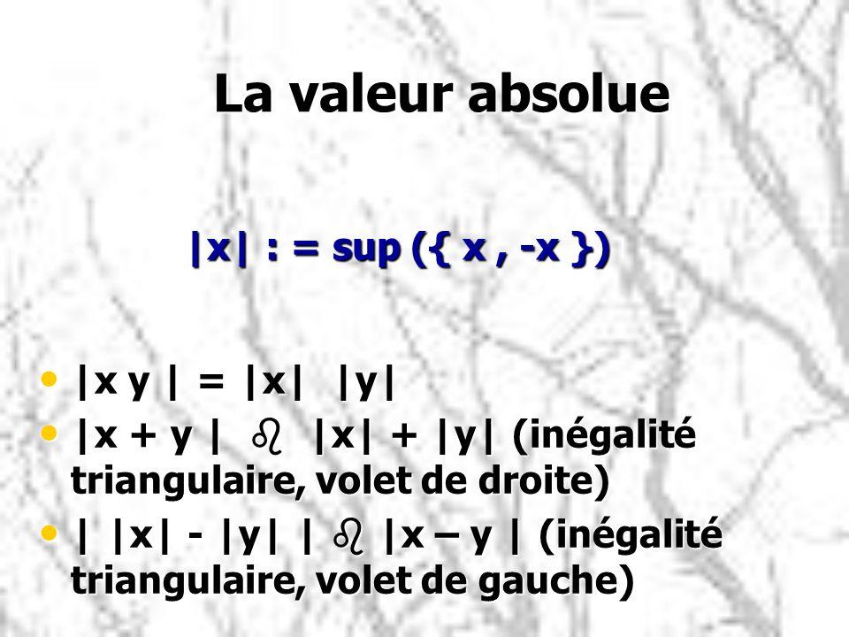 La valeur absolue La valeur absolue |x y | = |x| |y| |x y | = |x| |y| |x + y | b |x| + |y| (inégalité triangulaire, volet de droite) |x + y | b |x| +
