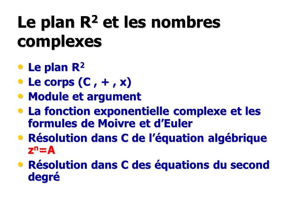 Le plan R 2 et les nombres complexes Le plan R 2 Le plan R 2 Le corps (C, +, x) Le corps (C, +, x) Module et argument Module et argument La fonction e