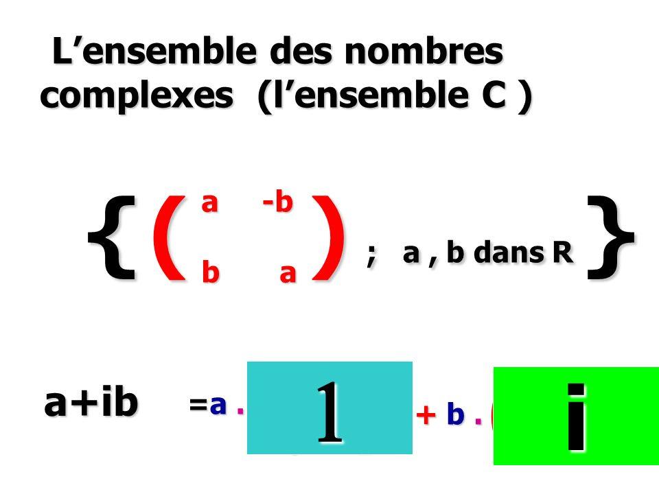 Lensemble des nombres complexes (lensemble C ) Lensemble des nombres complexes (lensemble C ) { ( ) ; a, b dans R } a -b b a a -b b a 1 0 0 1 0 -1 1 0