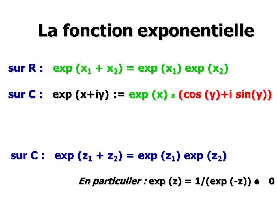 La fonction exponentielle La fonction exponentielle sur R : exp (x 1 + x 2 ) = exp (x 1 ) exp (x 2 ) sur C : exp (x+iy) := exp (x) x (cos (y)+i sin(y)