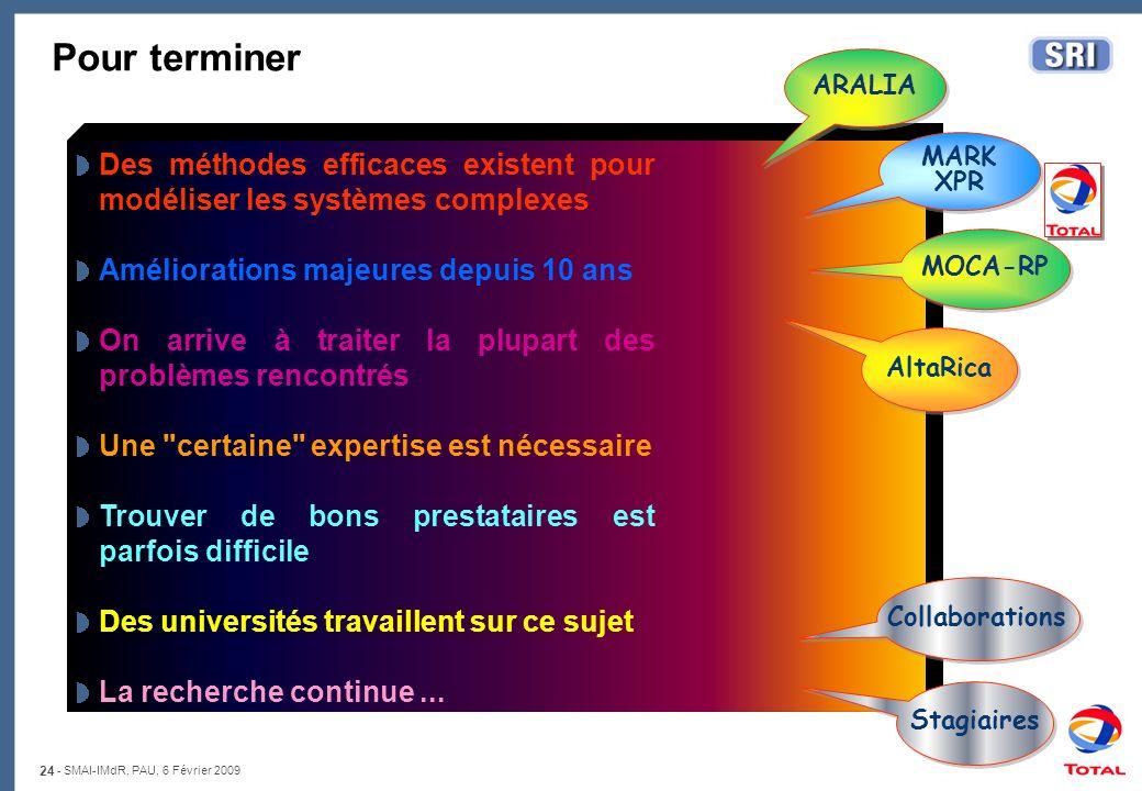 24 - SMAI-IMdR, PAU, 6 Février 2009 Pour terminer Des méthodes efficaces existent pour modéliser les systèmes complexes Améliorations majeures depuis