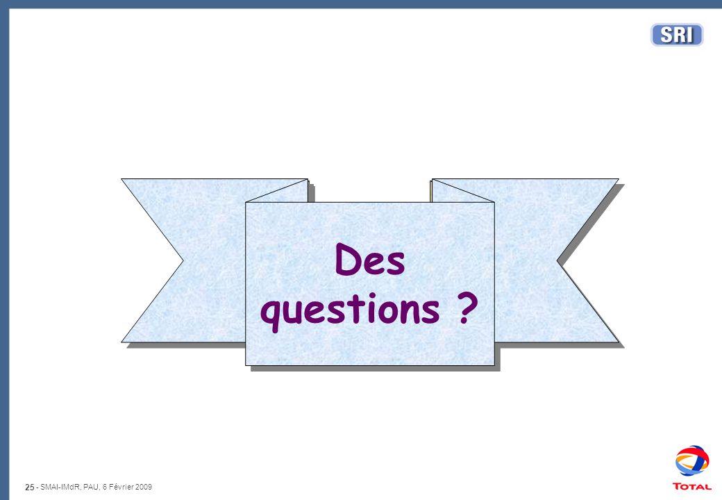 25 - SMAI-IMdR, PAU, 6 Février 2009 That's all folks Des questions ? Des questions ?