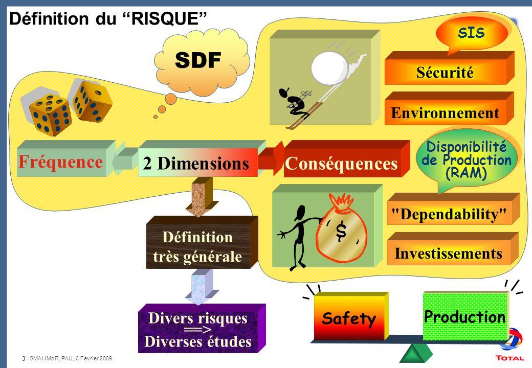 3 - SMAI-IMdR, PAU, 6 Février 2009 Divers risques ==> Diverses études Définition très générale Fréquence Définition du RISQUE Sécurité