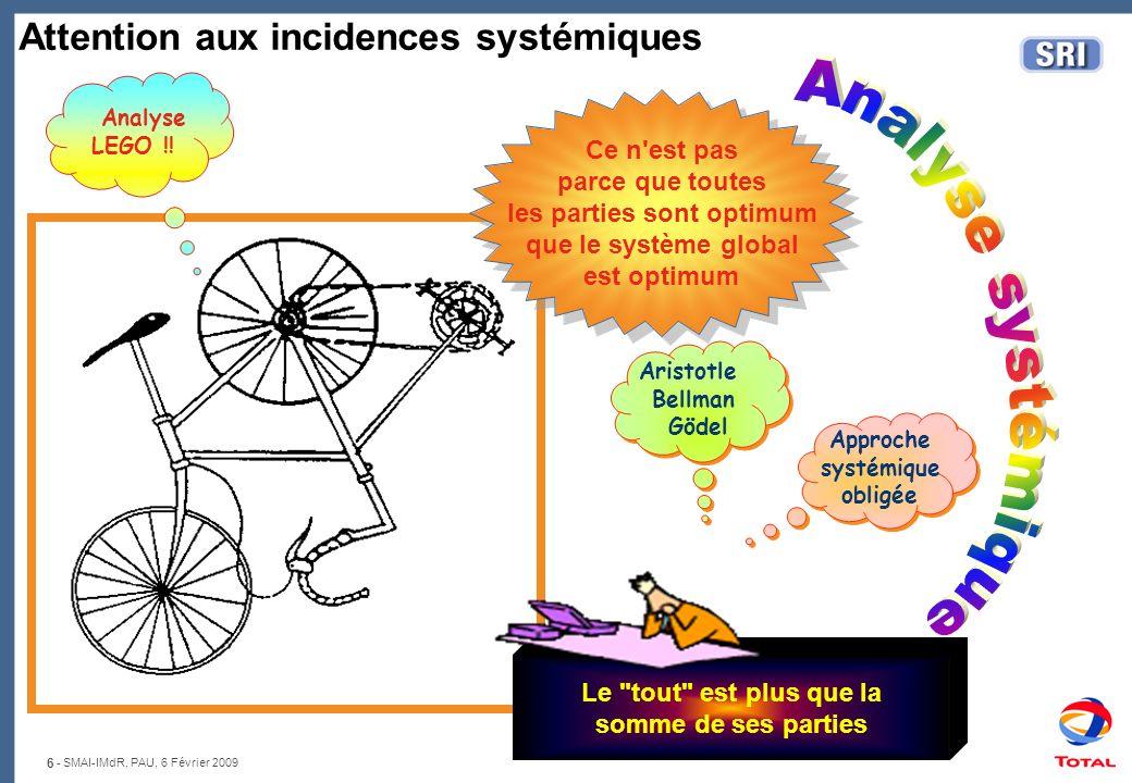 6 - SMAI-IMdR, PAU, 6 Février 2009 Attention aux incidences systémiques Analyse LEGO !! Le