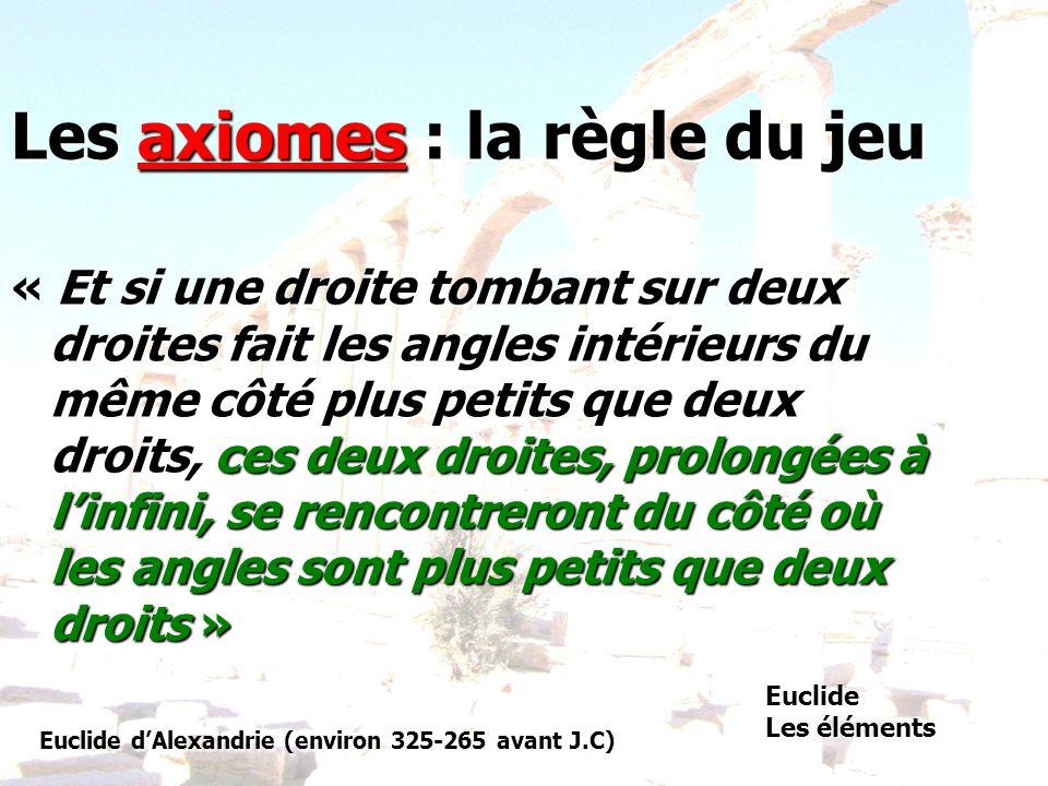 Les axiomes : la règle du jeu « Et si une droite tombant sur deux droites fait les angles intérieurs du même côté plus petits que deux droits, ces deu