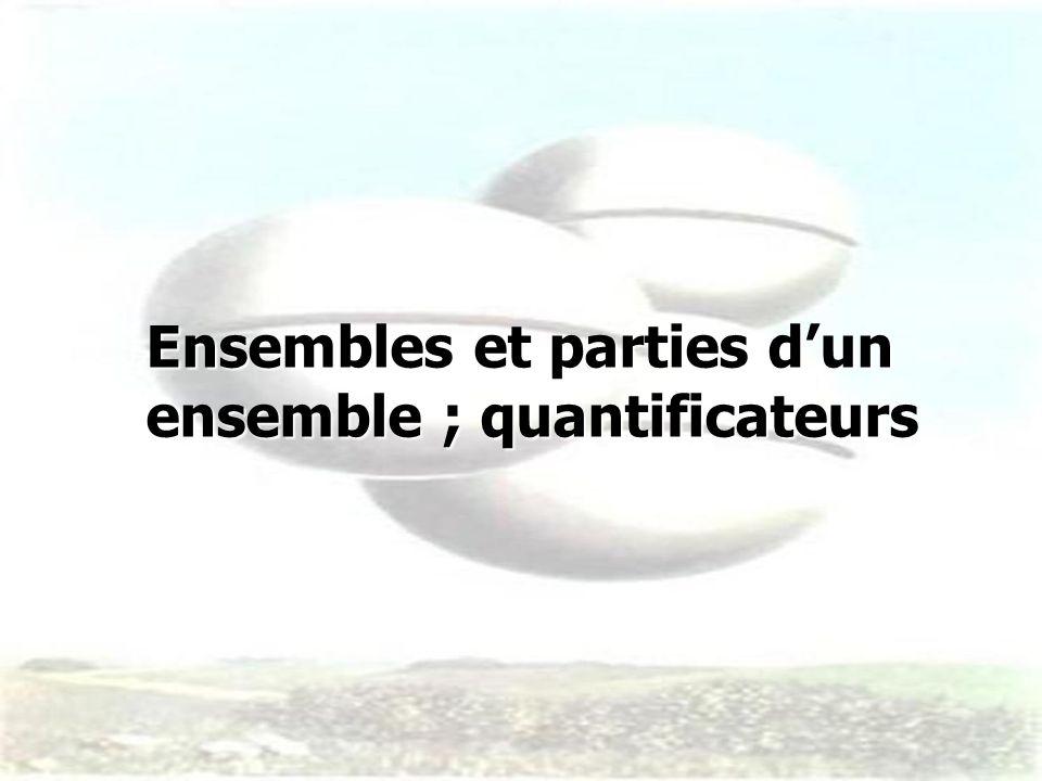 Ensembles et parties dun ensemble ; quantificateurs