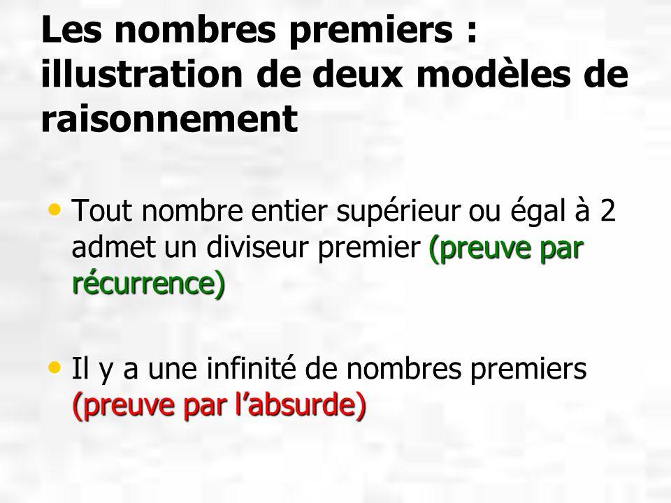 Les nombres premiers : illustration de deux modèles de raisonnement Tout nombre entier supérieur ou égal à 2 admet un diviseur premier (preuve par réc