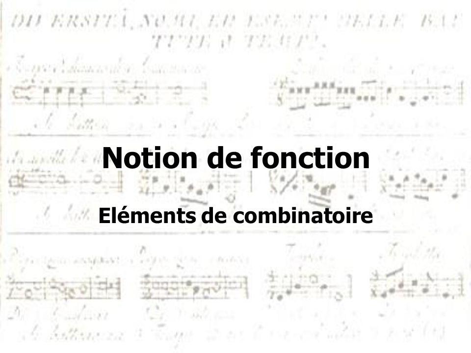 Notion de fonction Eléments de combinatoire