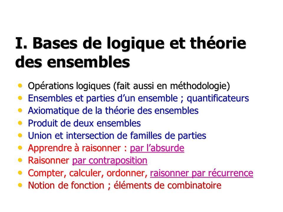 I. Bases de logique et théorie des ensembles Opérations logiques (fait aussi en méthodologie) Opérations logiques (fait aussi en méthodologie) Ensembl
