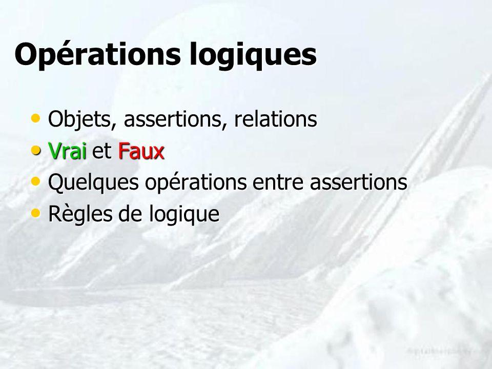 Opérations logiques Opérations logiques Objets, assertions, relations Objets, assertions, relations Vrai et Faux Vrai et Faux Quelques opérations entr