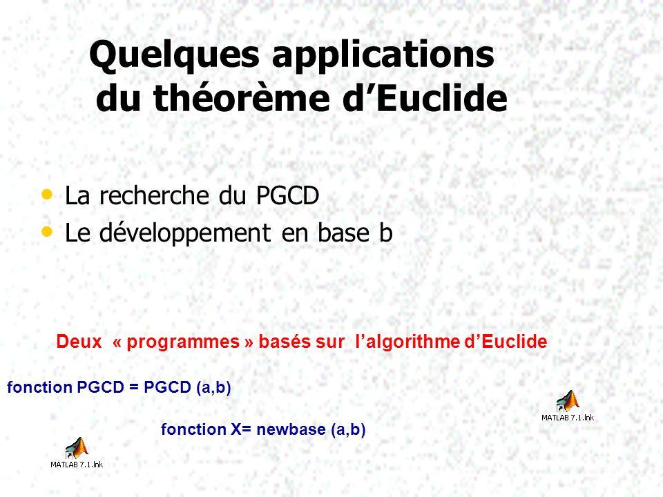 Quelques applications du théorème dEuclide Quelques applications du théorème dEuclide La recherche du PGCD La recherche du PGCD Le développement en ba