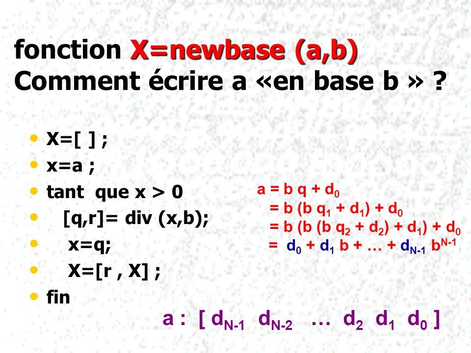 fonction X=newbase (a,b) Comment écrire a «en base b » ? X=[ ] ; x=a ; tant que x > 0 [q,r]= div (x,b); x=q; X=[r, X] ; fin ; a = b q + d 0 = b (b q 1