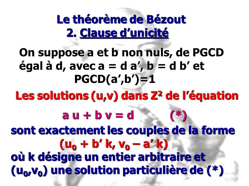 On suppose a et b non nuls, de PGCD égal à d, avec a = d a, b = d b et PGCD(a,b)=1 PGCD(a,b)=1 Les solutions (u,v) dans Z 2 de léquation a u + b v = d