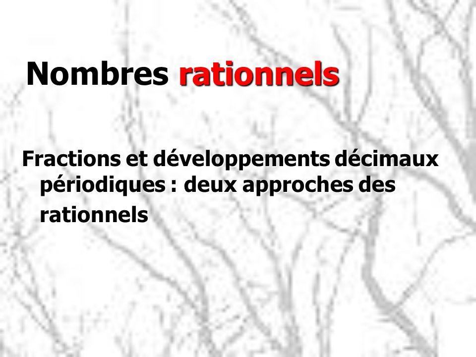 Nombres rationnels Fractions et développements décimaux périodiques : deux approches des rationnels
