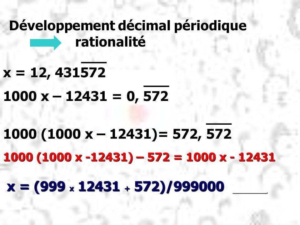 ___ ___ x = 12, 431572 ___ ___ 1000 x – 12431 = 0, 572 ___ ___ 1000 (1000 x – 12431)= 572, 572 1000 (1000 x -12431) – 572 = 1000 x - 12431 x = (999 x