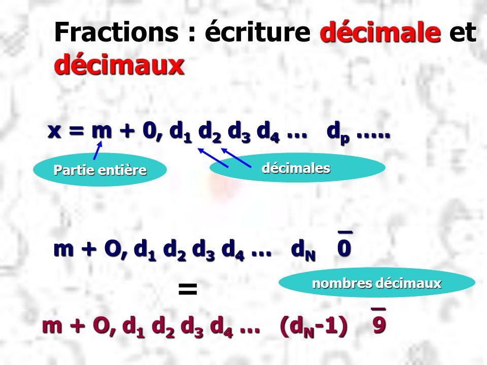 Fractions : écriture décimale et décimaux x = m + 0, d 1 d 2 d 3 d 4 … d p ….. x = m + 0, d 1 d 2 d 3 d 4 … d p ….. Partie entière décimales _ m + O,