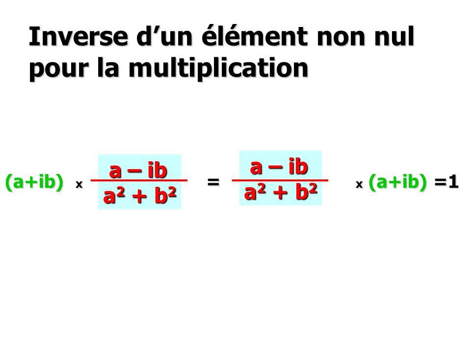 Inverse dun élément non nul pour la multiplication (a+ib) x ? = ? x (a+ib) =1 a – ib a – ib a 2 + b 2 a – ib a – ib a 2 + b 2