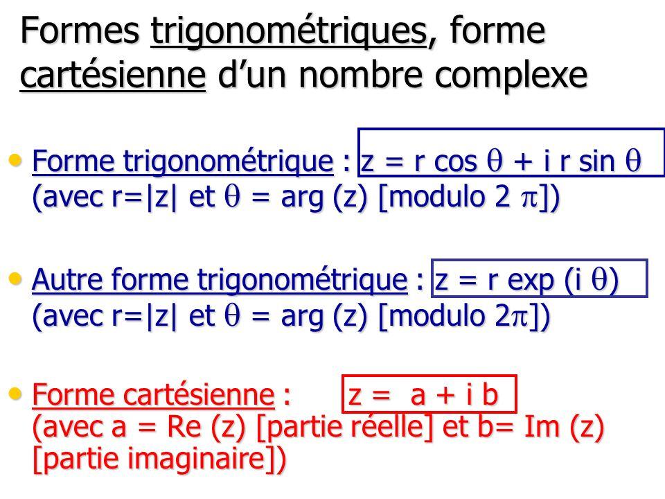 Formes trigonométriques, forme cartésienne dun nombre complexe Forme trigonométrique : z = r cos q + i r sin q (avec r=|z| et q = arg (z) [modulo 2 p