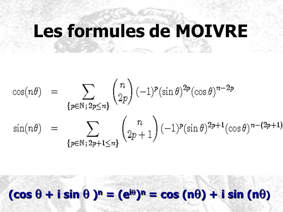 Les formules de MOIVRE Les formules de MOIVRE (cos q + i sin q ) n = (e i q ) n = cos (n q ) + i sin (n q )