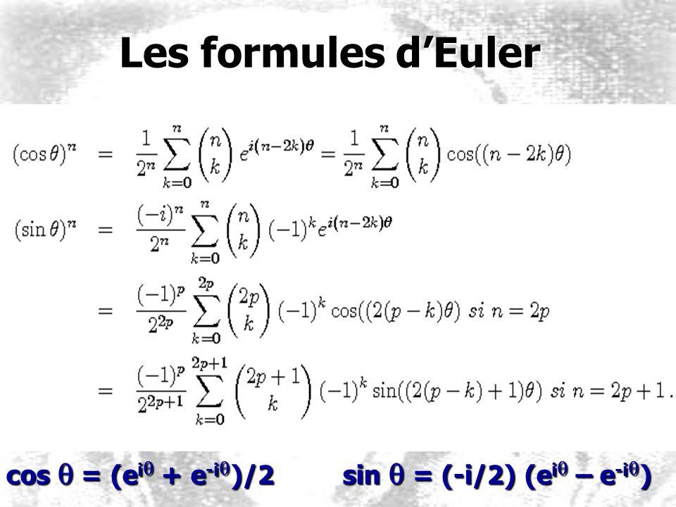 Les formules dEuler Les formules dEuler cos q = (e i q + e -i q )/2 sin q = (-i/2) (e i q – e -i q )