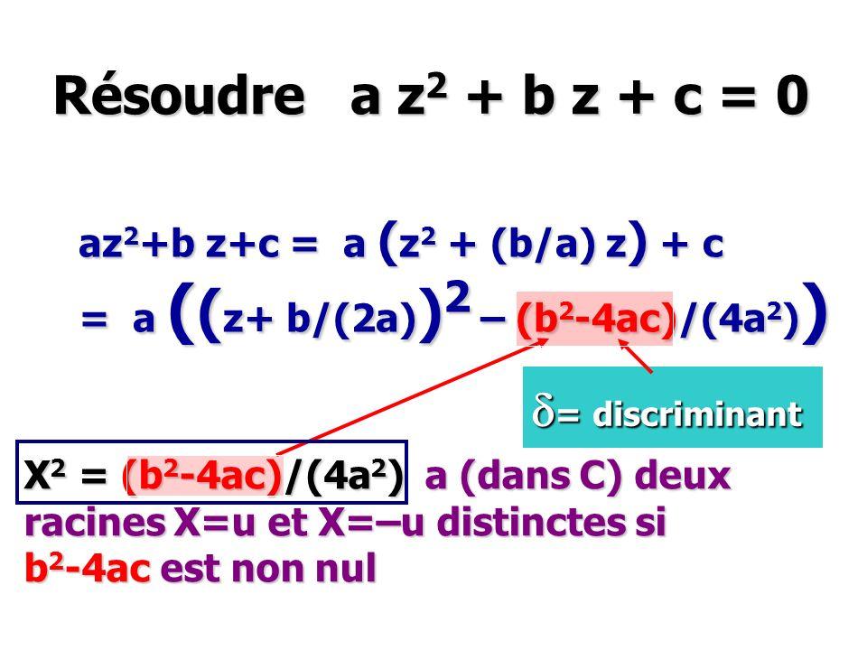 Résoudre a z 2 + b z + c = 0 az 2 +b z+c = a ( z 2 + (b/a) z ) + c = a ( ( z+ b/(2a) ) 2 – (b 2 -4ac)/(4a 2 ) ) X 2 = (b 2 -4ac)/(4a 2 ) a (dans C) de