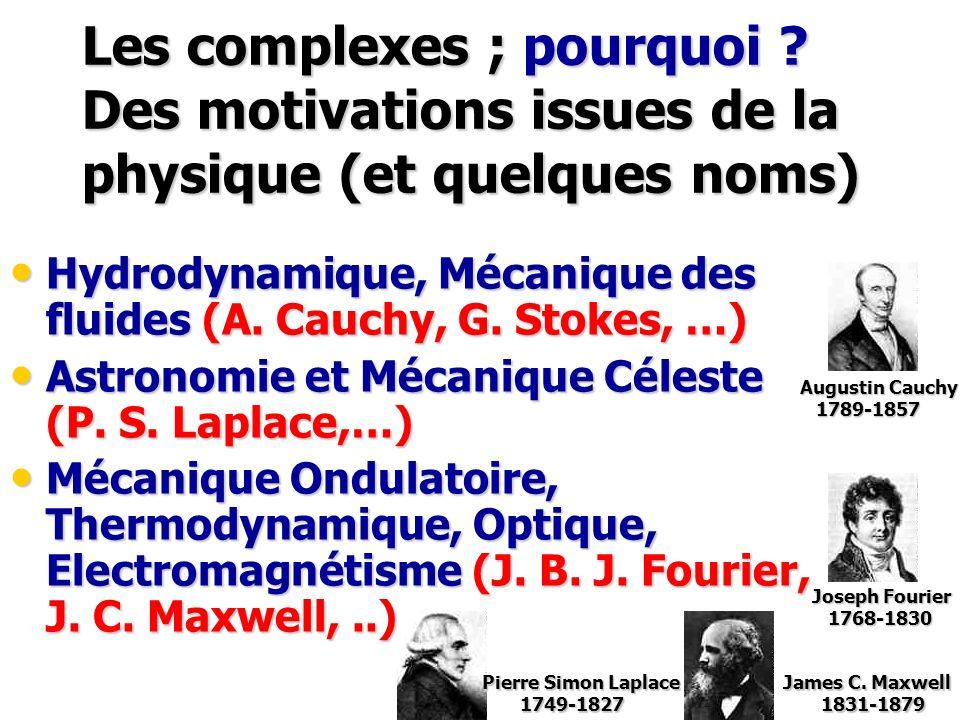 Les complexes ; pourquoi ? Des motivations issues de la physique (et quelques noms) Hydrodynamique, Mécanique des fluides (A. Cauchy, G. Stokes, …) Hy