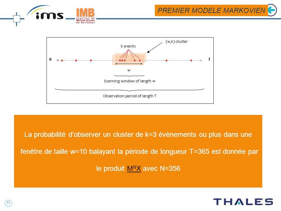 10 Aéronautique Matrice de transition Vecteur des probabilités initiales Nombre ditérations PREMIER MODELE MARKOVIEN