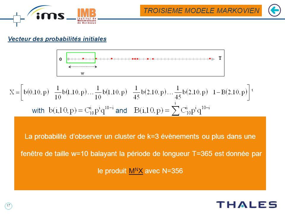16 Matrice de transition Transition de létat (i,j) vers létat (i-1,j-1) avec la probabilité q: ij i-1j-1 ij Transition de létat (i,j) vers létat absor