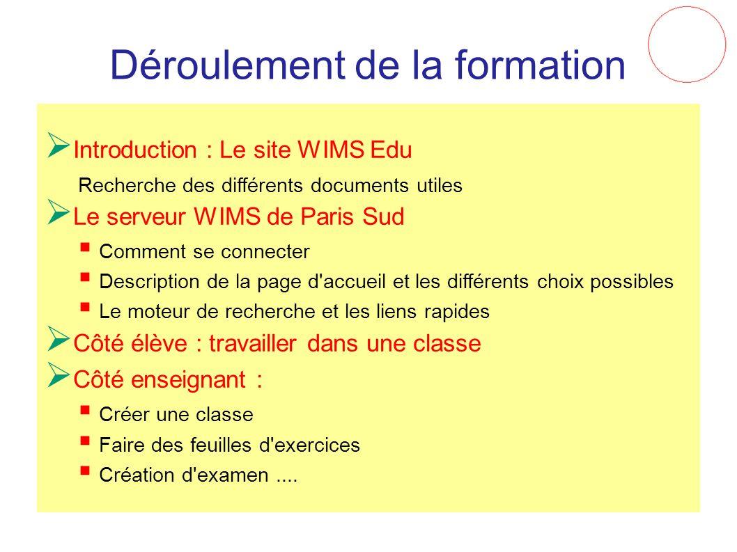 Déroulement de la formation Introduction : Le site WIMS Edu Recherche des différents documents utiles Le serveur WIMS de Paris Sud Comment se connecte