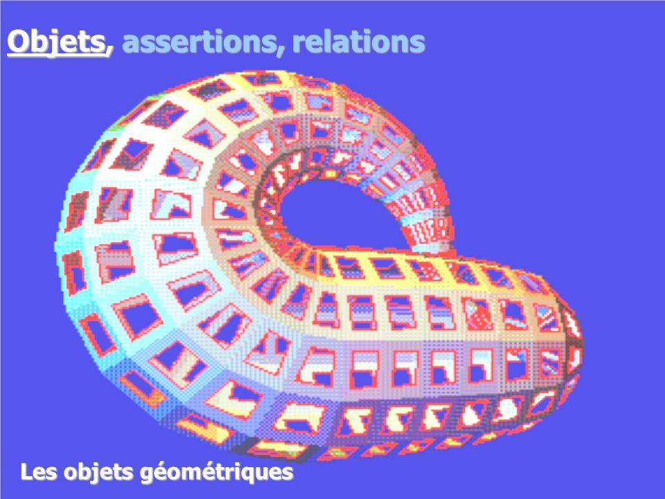 Objets géométriques Les objets géométriques Objets, assertions, relations