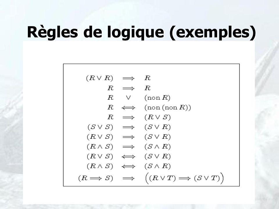 Règles de logique (exemples) Règles de logique (exemples)
