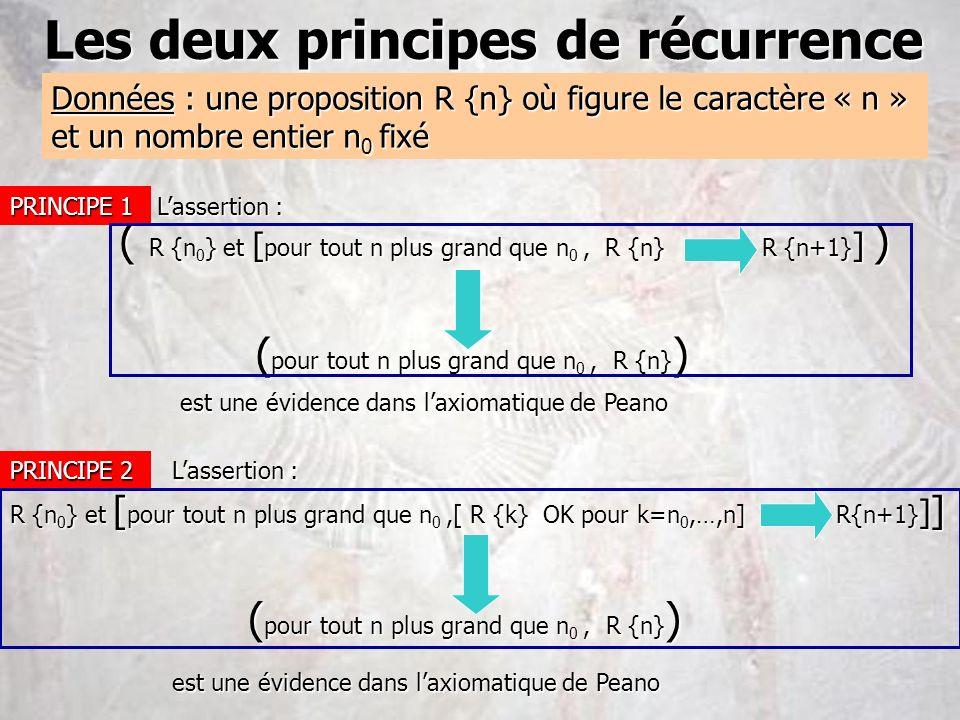 Les deux principes de récurrence Données : une proposition R {n} où figure le caractère « n » et un nombre entier n 0 fixé PRINCIPE 1 PRINCIPE 2 Lasse