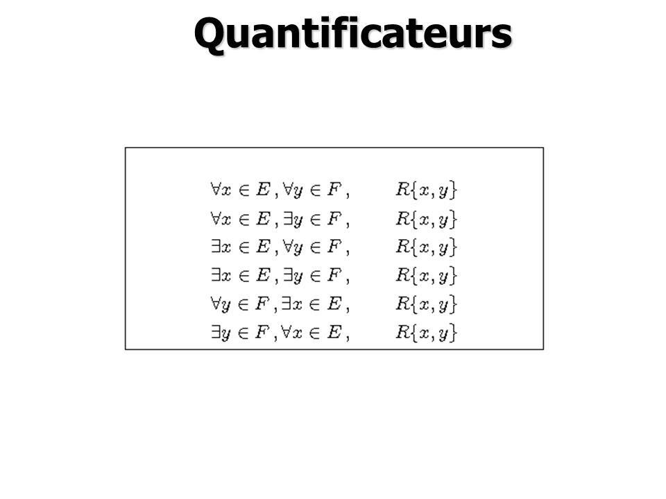 Quantificateurs Quantificateurs