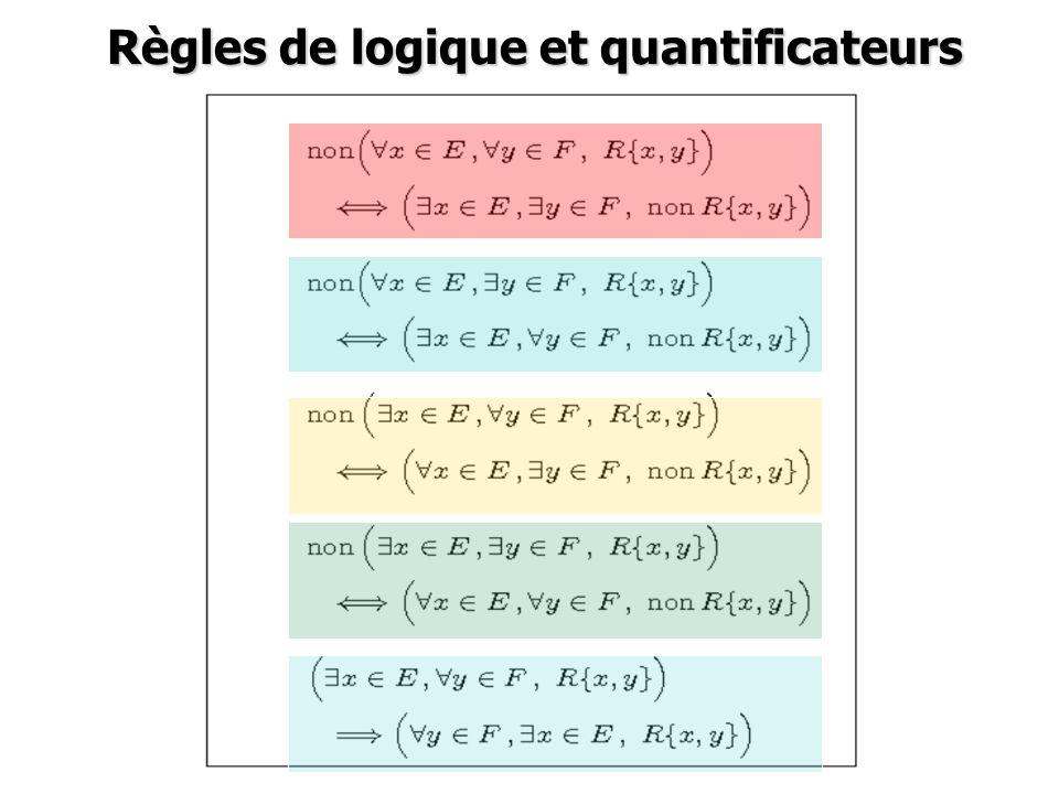 Règles de logique et quantificateurs Règles de logique et quantificateurs