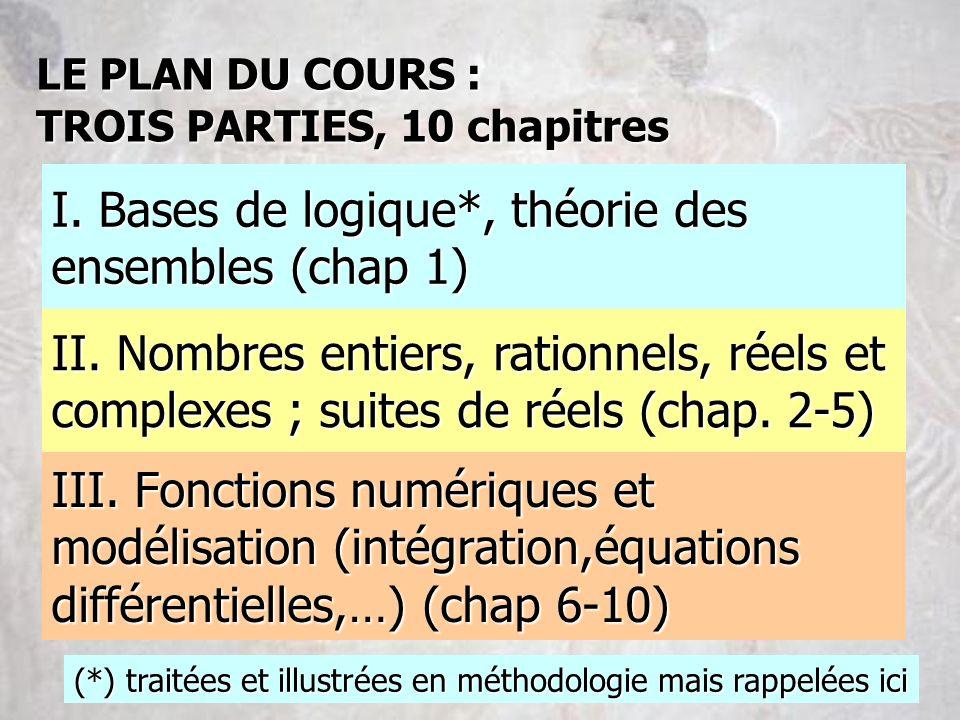 III. Fonctions numériques et modélisation (intégration,équations différentielles,…) (chap 6-10) II. Nombres entiers, rationnels, réels et complexes ;