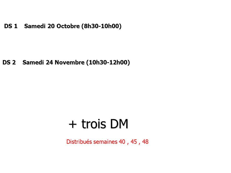 DS 1 Samedi 20 Octobre (8h30-10h00) DS 1 Samedi 20 Octobre (8h30-10h00) DS 2 Samedi 24 Novembre (10h30-12h00) + trois DM + trois DM Distribués semaine