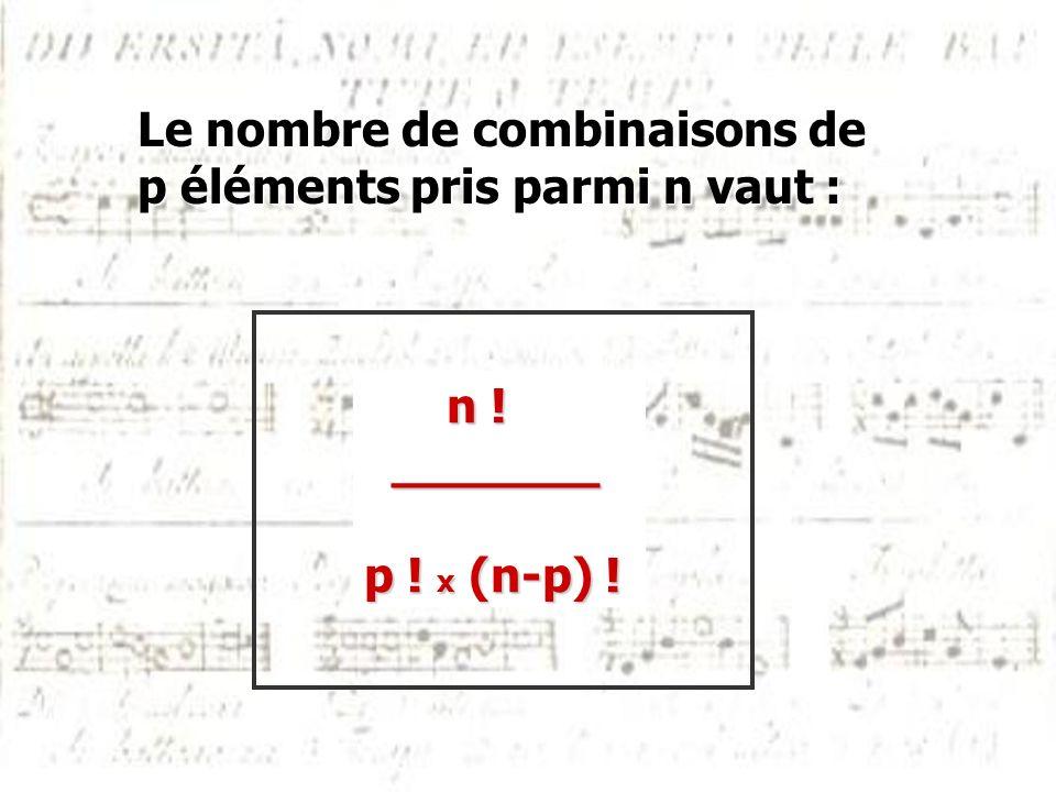 Le nombre de combinaisons de p éléments pris parmi n vaut : n ! n ! _______ _______ p ! x (n-p) !