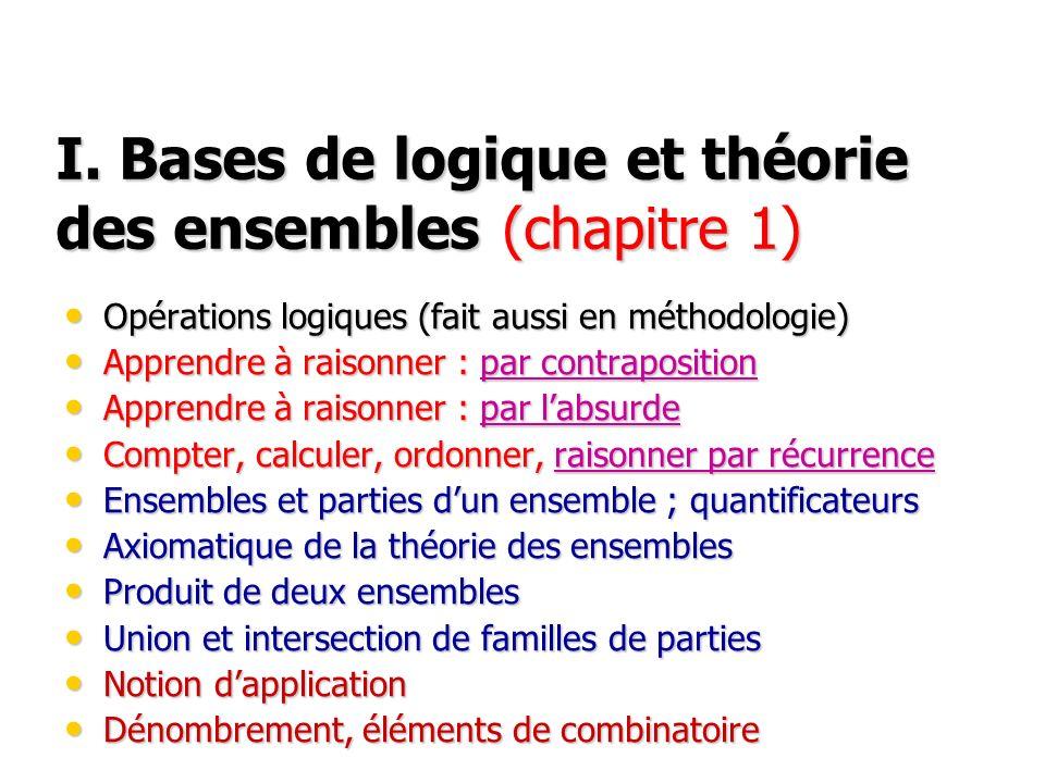 I. Bases de logique et théorie des ensembles (chapitre 1) Opérations logiques (fait aussi en méthodologie) Opérations logiques (fait aussi en méthodol