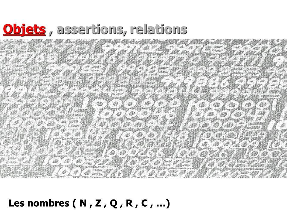 Les nombres ( N, Z, Q, R, C, …) Objets, assertions, relations