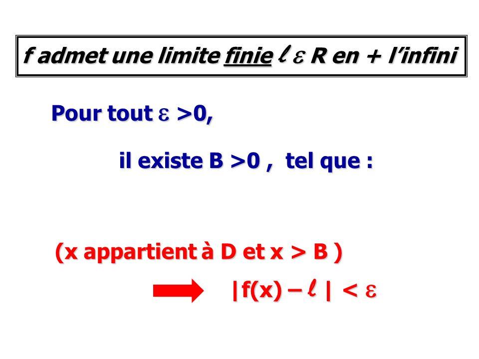 Pour tout e >0, il existe B >0, tel que : (x appartient à D et x > B ) |f(x) – l | < e f admet une limite finie l e R en + linfini