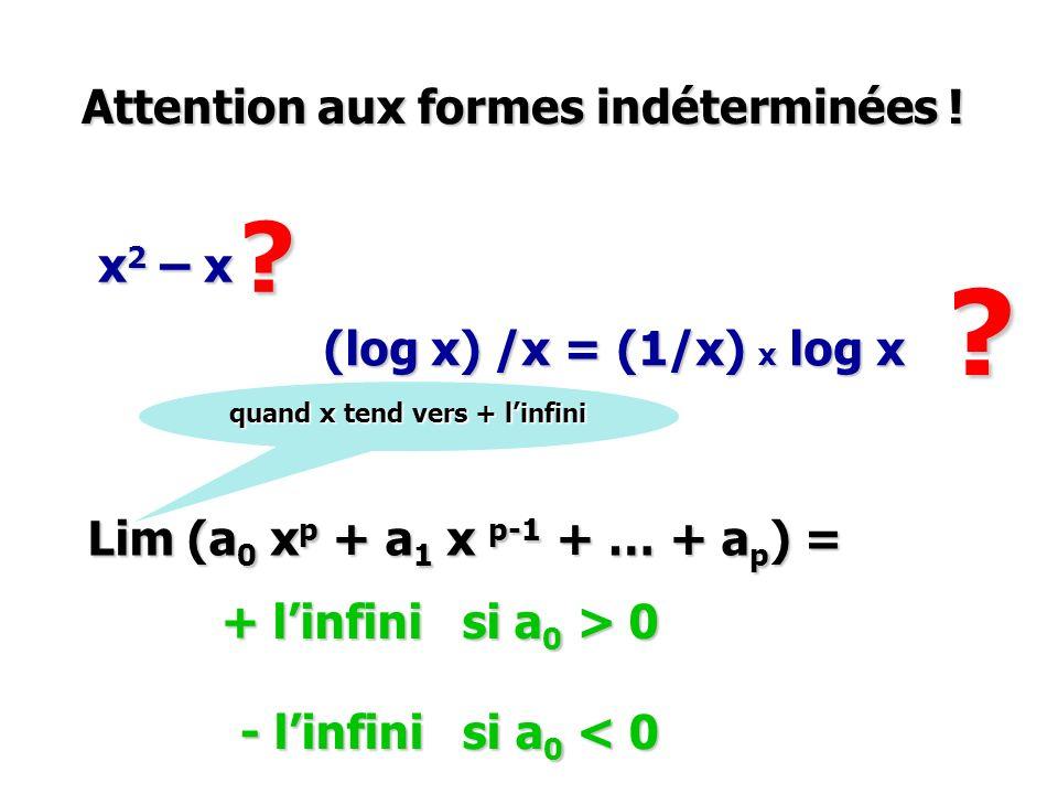 Attention aux formes indéterminées ! Lim (a 0 x p + a 1 x p-1 + … + a p ) = + linfini si a 0 > 0 - linfini si a 0 < 0 x 2 – x (log x) /x = (1/x) x log