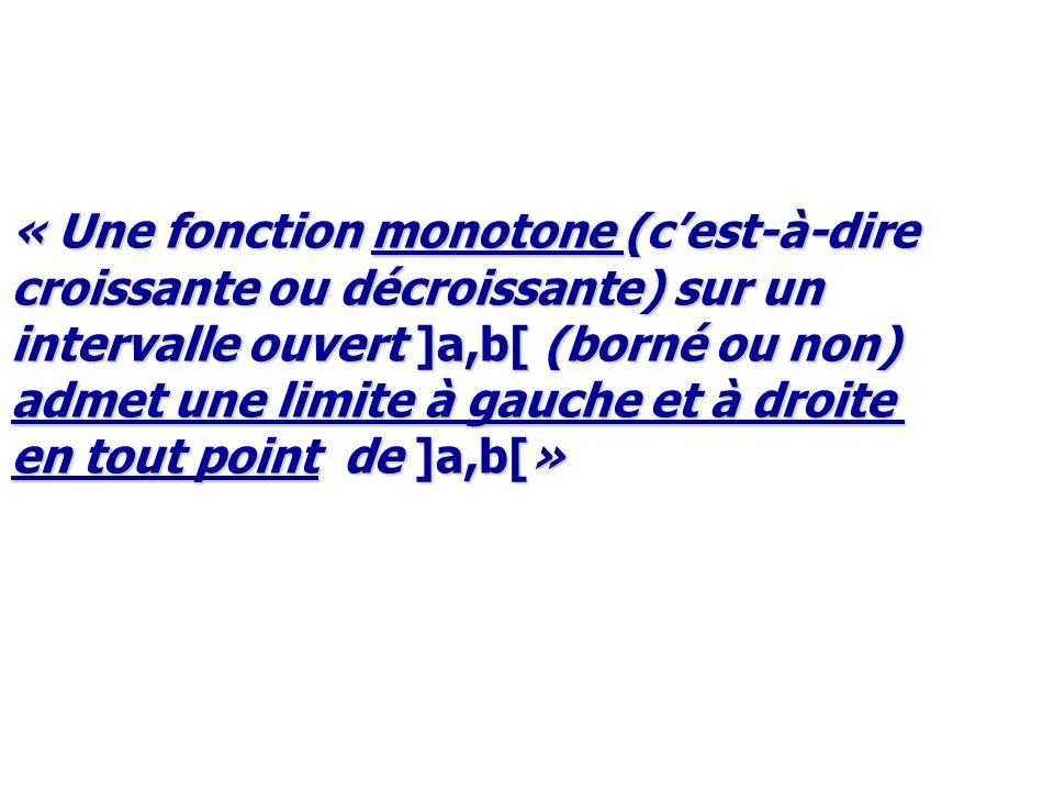 « Une fonction monotone (cest-à-dire croissante ou décroissante) sur un intervalle ouvert ]a,b[ (borné ou non) admet une limite à gauche et à droite e