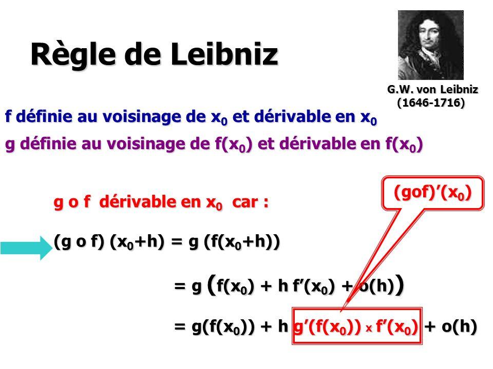 Règle de Leibniz f définie au voisinage de x 0 et dérivable en x 0 g définie au voisinage de f(x 0 ) et dérivable en f(x 0 ) g o f dérivable en x 0 ca