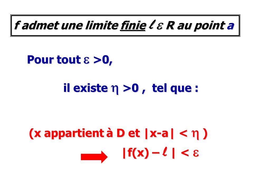 Pour tout e >0, il existe h >0, tel que : (x appartient à D et |x-a| < h ) |f(x) – l | < e f admet une limite finie l e R au point a