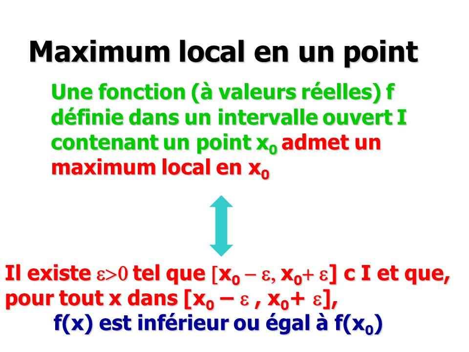 Maximum local en un point Une fonction (à valeurs réelles) f définie dans un intervalle ouvert I contenant un point x 0 admet un maximum local en x 0